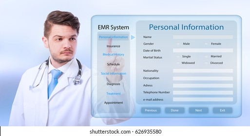 Male doctor working on healthcare transparent screen and consulting medical history of a patient