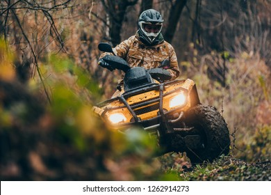 Male driving fix quad through the forest