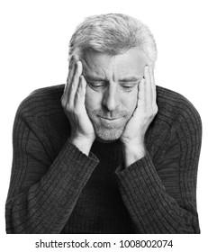 male elderly older depression black and white Isolated white background