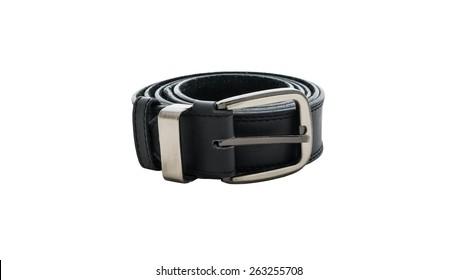 male elegant belt isolated on the white background
