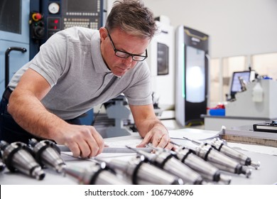 Male Engineer Measuring CAD Drawings In Factory