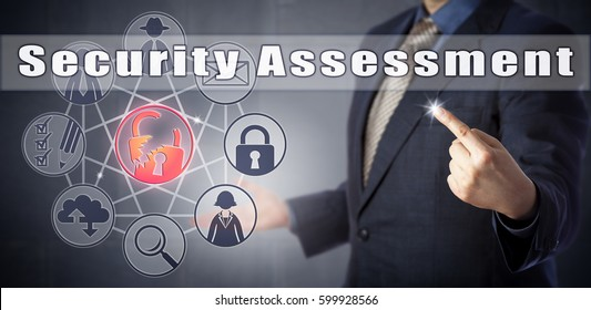 Male enterprise consultant in blue business suit is initiating Security Assessment. Information technology metaphor and cyber security concept for internal audit procedure or outsourced auditing.