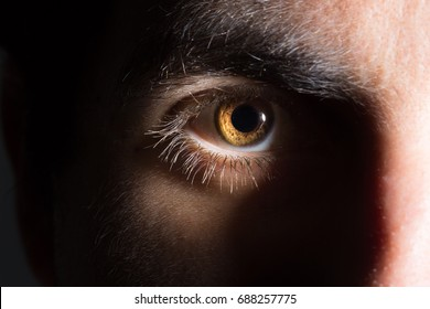Male eye on the dark