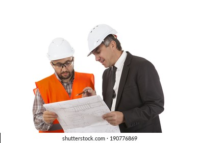 Male factory worker and supervisor are analyzing plans on white background