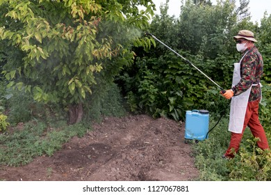 Male farmer with hat, glasses, respirator, apron, protective clothing watering fruit trees with professional sprayer. Fighting pests in garden. Blue reservoir with electric sprayer. Poison for insects