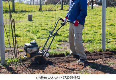A male farmer plows the land with a cultivator. Agricultural machinery: cultivator for cultivating the soil in the garden in a small area, cultivator.