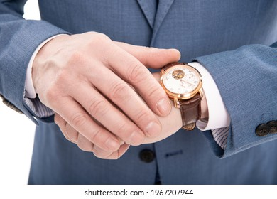 male fashion accessory. cropped man in suit checking time. businessman with hand watch. business professional dress code. boss formalwear showing wristwatch. you are late. deadline. time management.