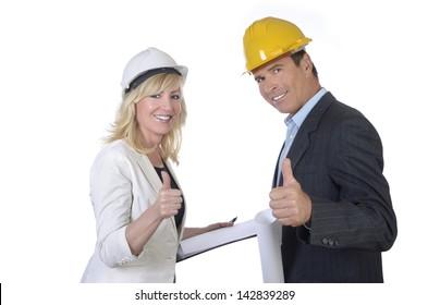 Male and female architect smiling thumb up, Studio Shot