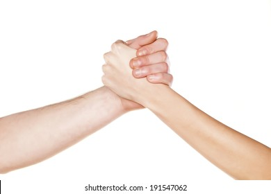 male and female arm wrestling on the white background