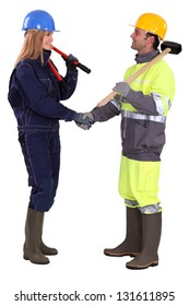 Male and female builder