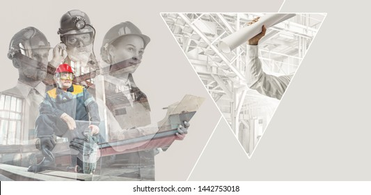 Male and female builders in helmets with double exposure on grey background. Safety specialists, engineers, occupation, job concept. Successfuly done projects. Collage made of 3 people.