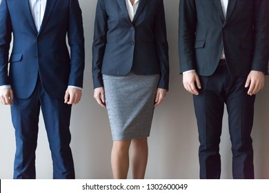Male and female business people standing in line row, executives team job applicants office workers group professional corporate staff employees in suits, human resources concept, close up view
