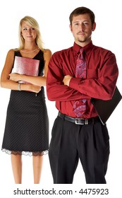 Male and Female coworkers, with serious expression on their faces