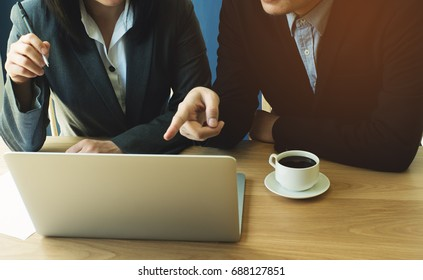 male and female discuss about working