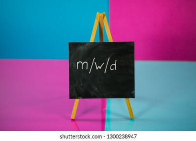 male, female, divers, no matter, the main thing is healthy, chalkboard on pink and blue background