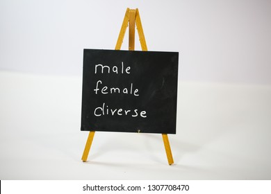 male, female, diverse, m / w / d, on slate, white background