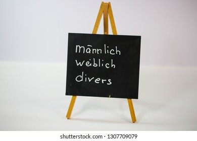 male, female, diverse, (männlich, weiblich, divers = male, female, divers) m / w / d, on slate, white background