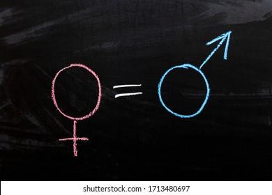 Male and female gender symbols on a black background