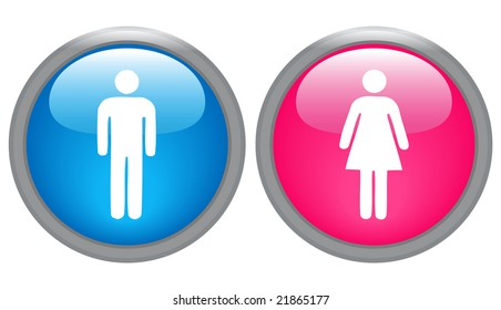 male and female glossy icons - vector version also available in portfolio