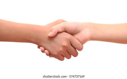 male and female hand united handshake on isolated white background