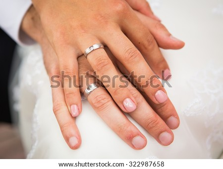 Male Female Hand Wedding Rings Stock Photo Edit Now 322987658