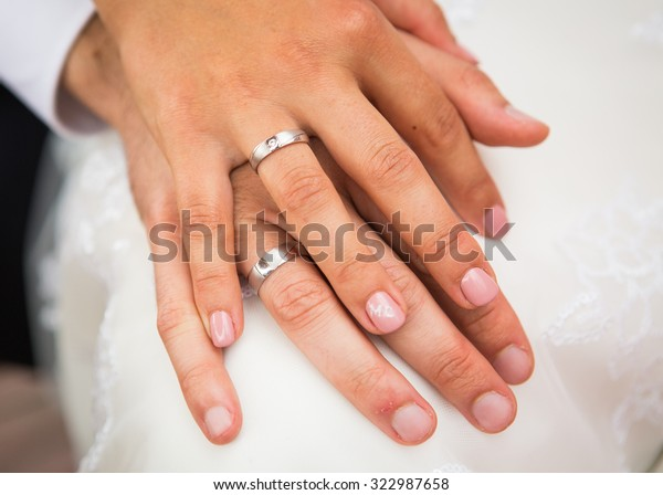 Which Hand Wedding Ring Female.Male Female Hand Wedding Rings Stock Photo Edit Now 322987658