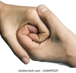 Male and female hands connect with each other. On white isolated background.
