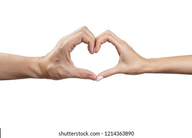Male and female hands forming a heart shape, isolated on white background