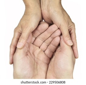Male and female hands in gentle embrace on white background