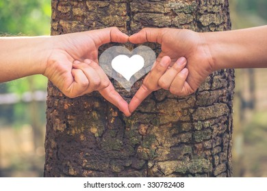 Male and female hands gesture a love sign on tree trunk with drawing heart inside