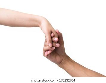 Male Female hands handshake isolated on white background.