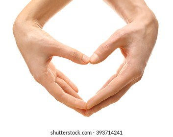 Male and female hands making heart with fingers, isolated on white