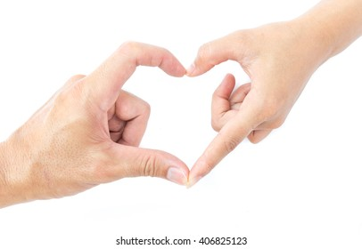 Male and female hands making heart shape for love concept on white background