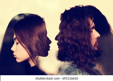 Male and female love concept. Toned. Multiple exposure.
