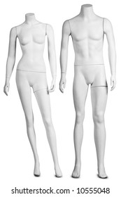 a male and a female mannequin on white with clipping path