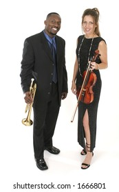 Male and female musicians backstage holding their instruments.  Shot isolated on white background.