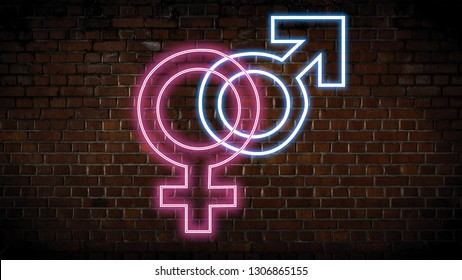Male and female neon sign