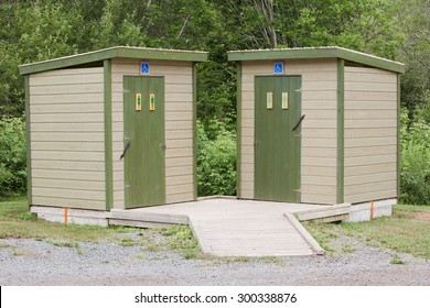 Male and Female outdoor restroom facilities with handicapped accessibility.