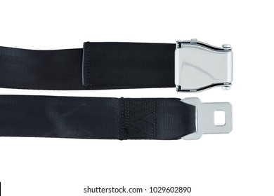 Male and Female side of Airplane Safety Seat Belts next to each other isolated on white background