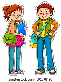 male and female students standing next to each other (vector available in my gallery)