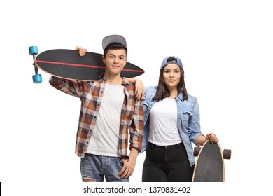 Male and female teenage skaters with longboards isolated on white background