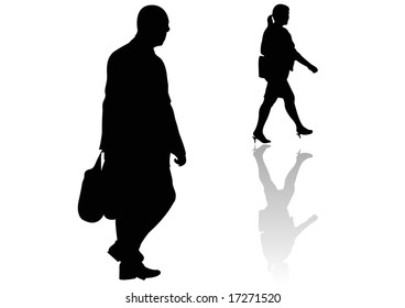 male and female walkers
