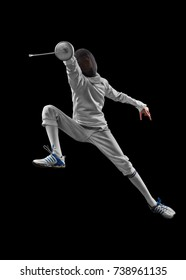 male fencer in action
