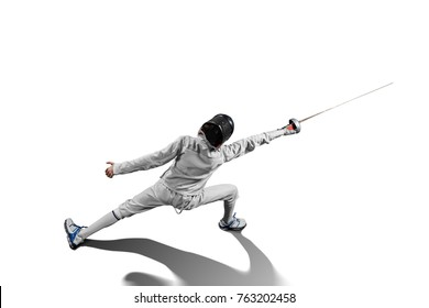 male fencer in action isolated