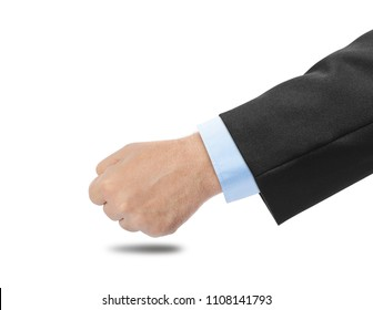 Male fist knocks on the table isolated on white background