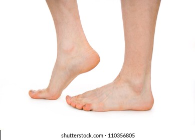 male foot, heel, feet isolated on white background