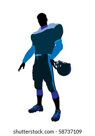 Male football player with his helmet art illustration silhouette on a white background