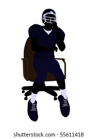 Male football player sitting on a chair art illustration silhouette on a white background