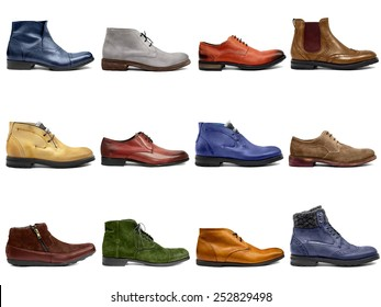 Male footwear collection on white background
