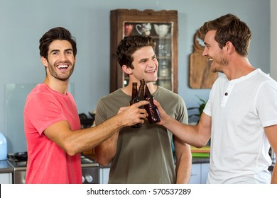 Male friends toasting beer bottles at home
